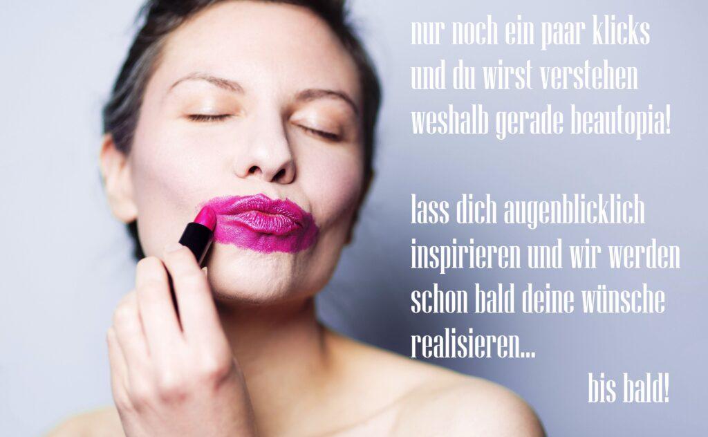 frau die ihre lippen überschminkt in pink
